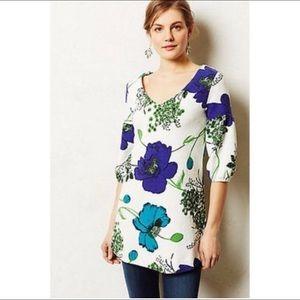 Anthropologie Deletta Floral Tunic Top Retro Mod